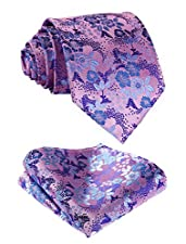 SetSense Men's Floral Jacquard Woven Tie Flower Necktie and Pocket Square Set