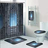 gazebo curtains 12x14 AmaPark 5 Piece Bath Rug Set,World Castle Architecture Details Terrace Gazebo Indoor Foggy Forest Grey Light Blue Print Bathroom Rugs Shower Curtain/Rings and Both Towels