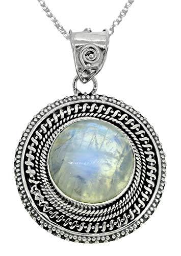 Pendant Moonstone Rainbow Blue - YoTreasure Rainbow Moonstone Solid 925 Sterling Silver Designer Chain 1 3/4