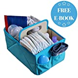 Changing Table That Fits Over Crib NEW YEAR SALE! Foldable Baby Diaper Blue Caddy Organizer - With FREE E-Book | Baby Shower Gift | Best Portable Stacker & Sturdy Storage Caddie | Cloth Tray for Infant | Stylish Travel Basket