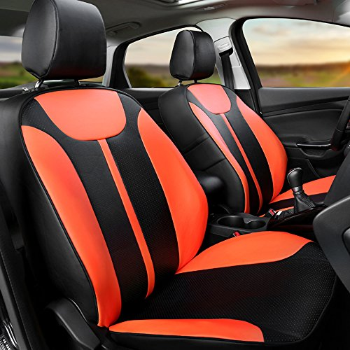 AutoDecorun All 3 Rows 21PCS/Set Automotive Exact Fit Seat Covers Interior Accessories For Renault Scenic Car Seat Cover Leather Look Cover Seat Protection Airbag Compatible (Black X Orange)