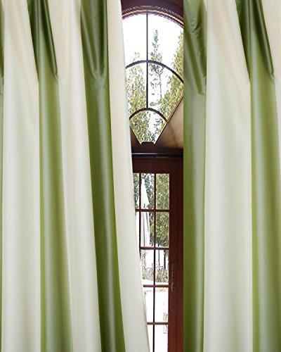 Silk Taffeta Drapery (Hampton Ivory & Green striped poly taffeta curtain/panel (52