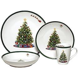 Melange Coupe 32-Piece Porcelain Dinnerware Set (Vintage Christmas Tree) | Service for 8 | Microwave, Dishwasher & Oven Safe | Dinner Plate, Salad Plate, Soup Bowl & Mug (8 Each)