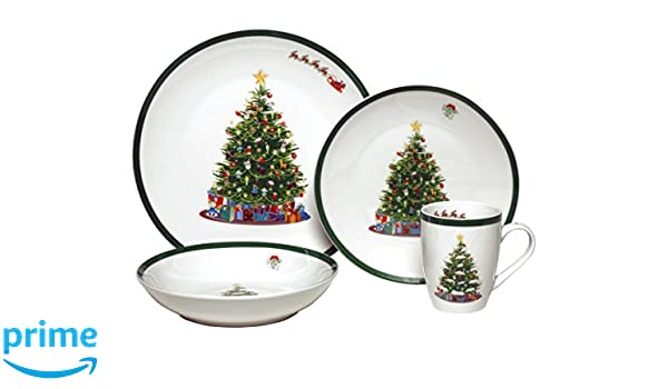 Amazon.com Melange Coupe 32-Piece Porcelain Dinnerware Set (Vintage Christmas Tree) | Service for 8 | Microwave Dishwasher u0026 Oven Safe | Dinner Plate ...  sc 1 st  Amazon.com & Amazon.com: Melange Coupe 32-Piece Porcelain Dinnerware Set (Vintage ...