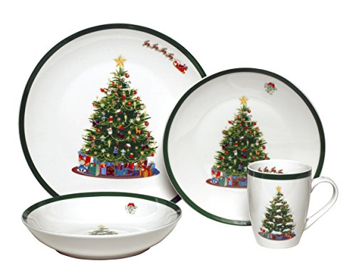 Melange Coupe 32-Piece Porcelain Dinnerware Set (Vintage Christmas Tree) | Service for 8 | Microwave, Dishwasher & Oven Safe | Dinner Plate, Salad Plate, Soup Bowl & Mug (8 Each)