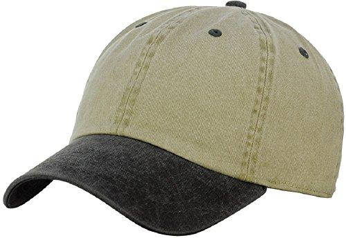 (NYFASHION101 Unisex Adjustable 6-Panel Low-Profile Baseball Cap LOW100- Washed Khaki/Black)