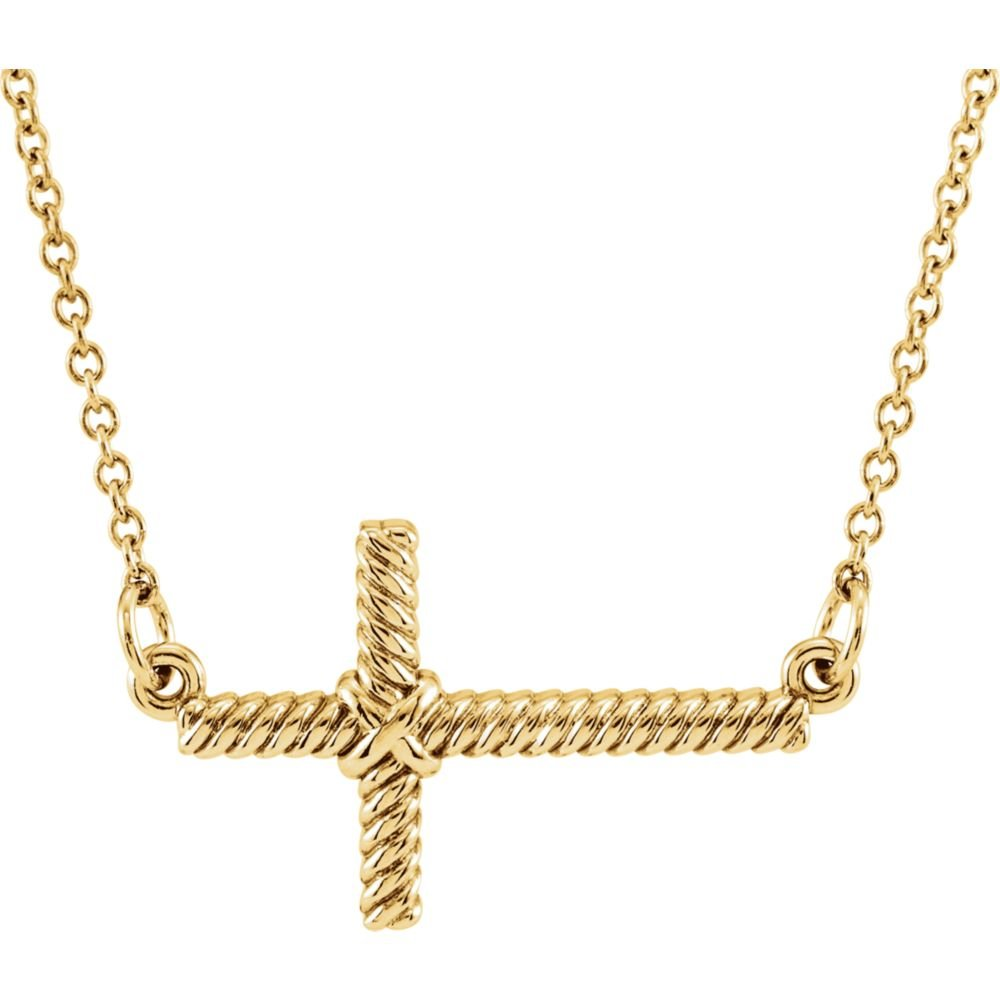 Jewels By Lux 14K Yellow Gold 11.3x20.15mm Sideways Rope Cross 16.5 Necklace