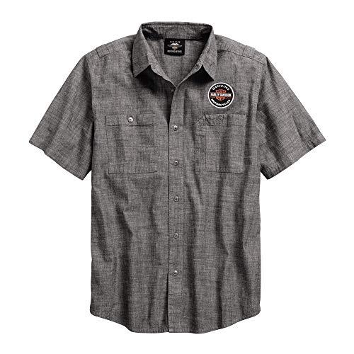 (Harley-Davidson Official Men's Genuine Oil Can Shirt, Asphalt (Large) Grey)