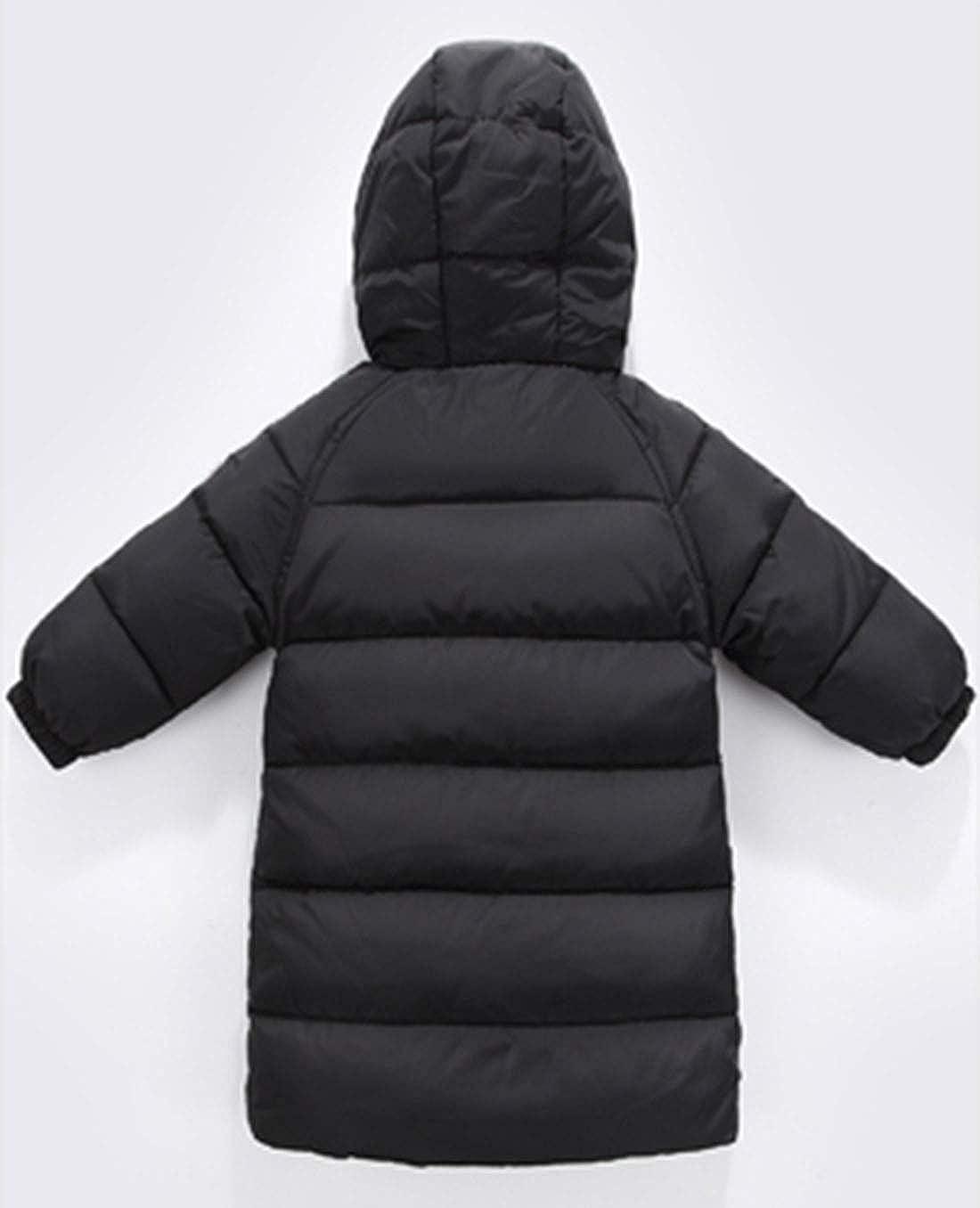 Boys Girls Lightweight Long Down Coat Warm Silky Windproof Outwear with Hood for 1-8T Kids