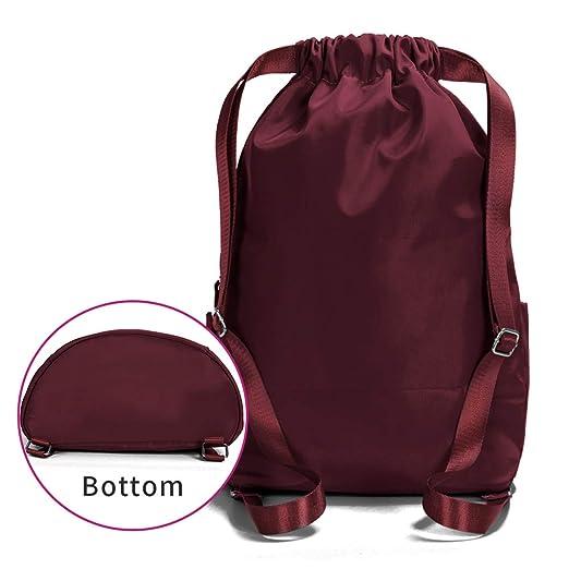 Amazon.com | ZOORON Waterproof Drawstring Gym Backpack Bag for Men & Women, Sport Gym Sack Mini Travel Daypack (d-claret) | Drawstring Bags