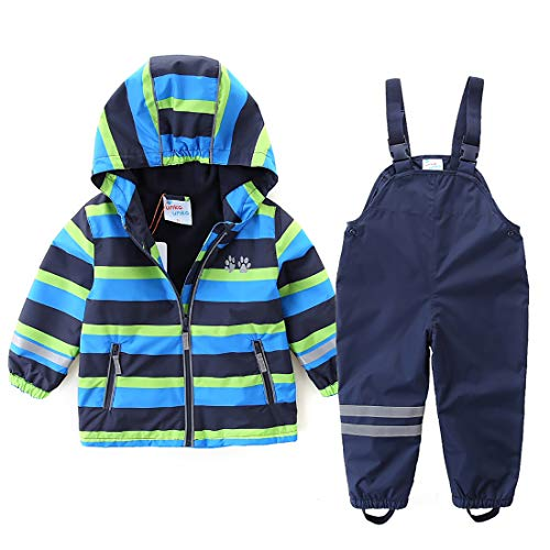 umkaumka Boys Girls Rain Suit Set Waterproof Jacket with Pants Kids Hooded Rainwear Set (2T (92))