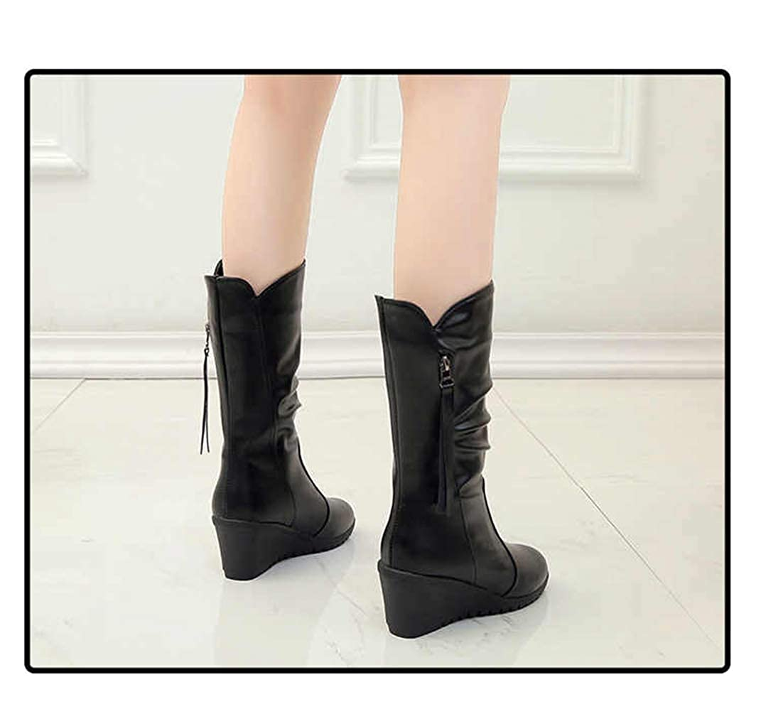 c690059e7 Amazon.com | Women Wedge Mid Calf Boots Height Increased Rubber Sole Round  Toe Zipper Up Short Plush Winter Warm Shoes | Shoes