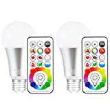MELPO E26 LED Light Bulb, 10W Color Changing Dimmable LED Light Bulbs with Remote Control, RGB & Daylight White(Pack of 2)