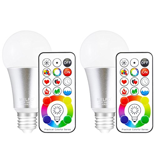 - MELPO E26 LED Light Bulb, 10W Color Changing Dimmable LED Light Bulbs with Remote Control, RGB & Daylight White(Pack of 2)