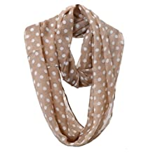 Cute Polka Dot Infinity Loop Scarf Chiffon Circle Snood Tube Neck Wrap