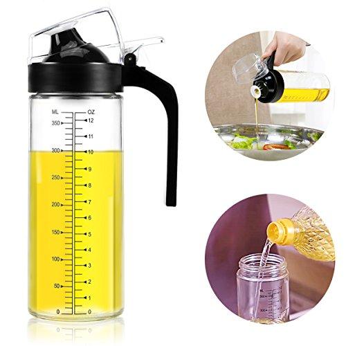 SY-Athena Olive Oil Dispenser Bottle - Horn mouth oil pot -12.5 Oz Condiment Oil Glass Bottle, Anti-leak Oil Bottle Vinegar Soy Sauce Bottle Small Vinegar Bottle,Non-Slip Handle for Kitchen Cooking