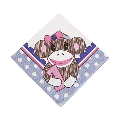 (Fun Express - Miss Sock Monkey Lunch Napkin (16pc) for Birthday - Party Supplies - Print Tableware - Print Napkins - Birthday - 16 Pieces)