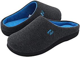 RockDove Men's Two-Tone Memory Foam Slippers, Breathable Waffle Texture House Shoes w/Indoor Outdoor Sole 5-6 M US...