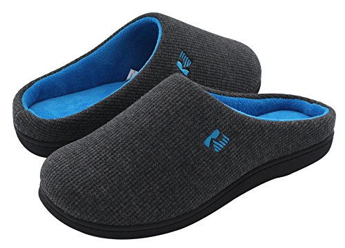 RockDove Men's Two-Tone Memory Foam Slipper(13-14 D(M) US, Dark Gray/Blue)