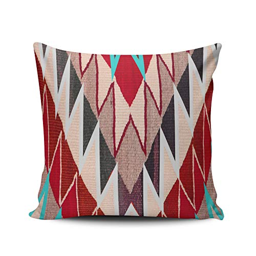 MUKPU Fashion Home Decoration Design Throw Pillow Case Aqua Mint and Red Navajo Tribal Print South West Decor 22X22 Inch Square Custom Pillowcase Cushion Cover Double Sided Printed (Set of 1) (Aqua And Red Pillows)