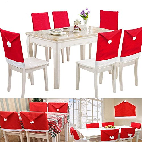 Christmas Santa Hat Chair Back Cover, Christmas Santa Claus Red Chair Hat, Xmas Party Dinner Table Kitchen Dining Decoration Red Chair Covers Sets of 6 (Santa Table Cover)