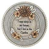 CC Outdoor Living 10'' Stone Gray and Bronze Textured Round Floral Garden Stepping Stone
