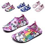 QTMS Kids Boys Girls Water Shoes Barefoot Quick Dry Aqua Socks Swim Shoes (Toddler/Little Kid/Big Kid)-14Pink-36
