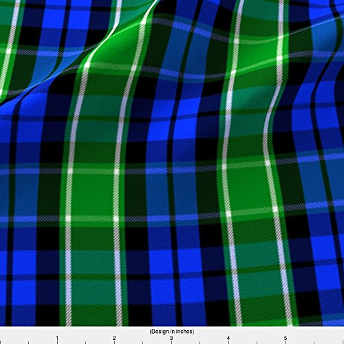 Spoonflower Black Watch Fabric Graham Of Menteith District Tartan (Modern Colors) by Weavingmajor Printed on Minky Fabric by the ()