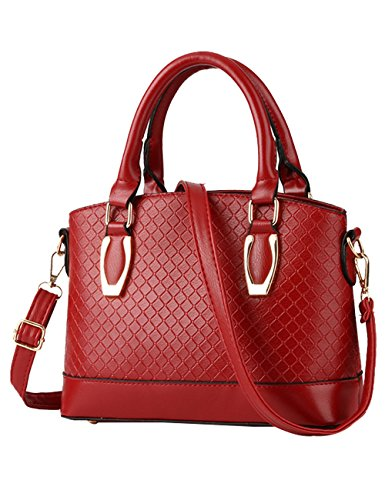 signore Nero Rosso nuove PU lucida Tote Leather tracolla Bag borsa CUKKE a Vino 7RvwYaq7