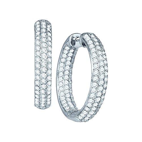 - 14K White Gold Pave Set Diamond Inside Out Hoop Earrings 3.00 Ctw.