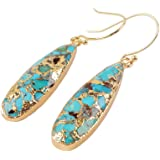 ZENGORI 1 Pair Long Teardrop Natural Turquoise with Line Fish Hook Drop Dangle Earrings