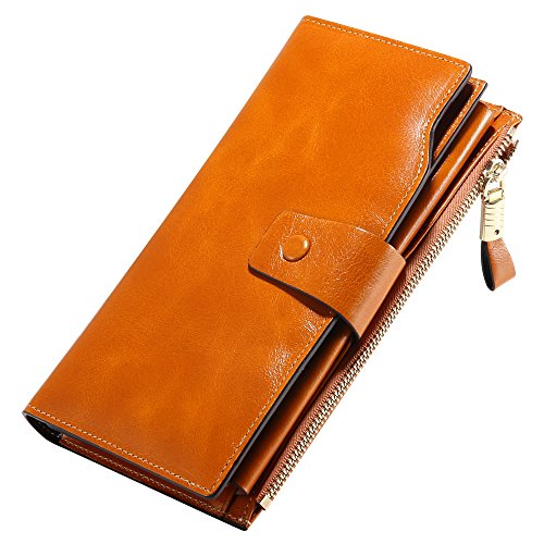 Designer Wallets for Women RFID Oil Waxed Cowhide Leather Purses Super...