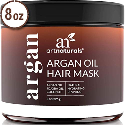 ArtNaturals Argan Oil Hair Mask - (8 Oz/226g) - Deep Conditioner - 100% Organic Jojoba Oil, Aloe Vera & Keratin - Repair Dry, Damaged Or Color Treated Hair After Shampoo - Shampoo Treatment Jojoba