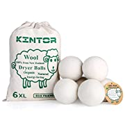 KINTOR Wool Dryer Balls XL 6 Pack 2.95 , 100% Organic New Zealand Natural Fabric Softener, Hypoallergenic Baby Safe & Unscented, Reduce Wrinkles & Static Cling, Shorten Drying Time