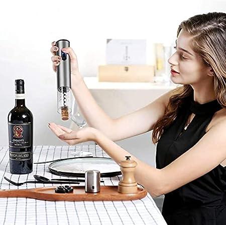 HFFSGS Abre de Vino eléctrico, Apertura de Botellas de Vino eléctrico con batería, Acero Inoxidable automático de Acero Inoxidable con Cortador de lámina para el Amante del Vino del hogar