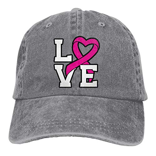 (2 Pack Love Pink Ribbon Breast Cancer Awareness Adjustable Baseball Cap Dad Hat for Adult)