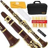 Lazarro 160-BR-L B-Flat Bb Clarinet Brown-Gold Keys