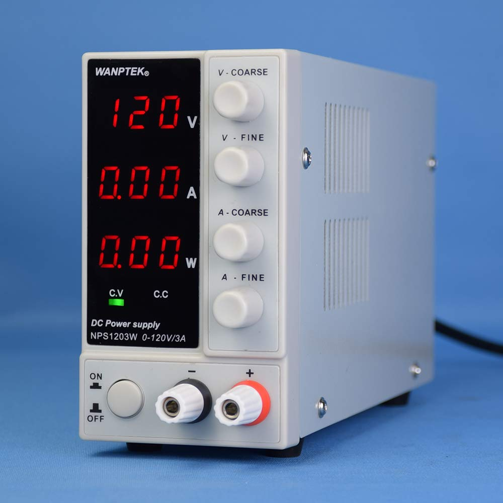 KKmoon DC Power Supply, NPS1203W 0-120V 0-3A Switching DC Power Supply 3 Digits Display LED High Precision Adjustable Mini Power Supply AC 115V/230V 50/60Hz Voltage & Current Regulated Dual Output by KKmoon