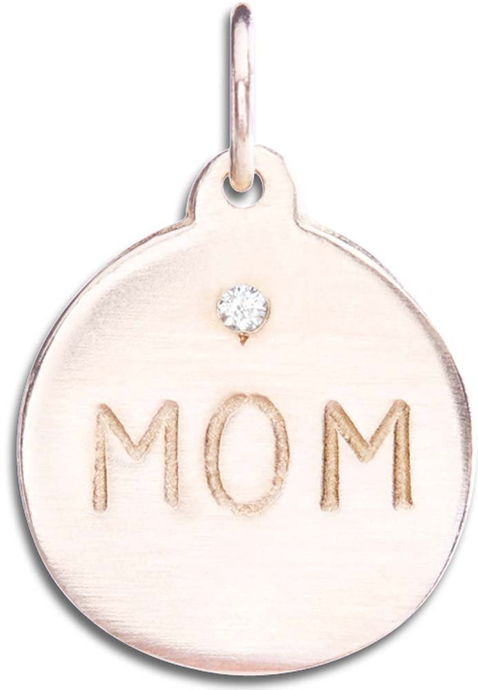 Helen Ficalora ''Mom'' Disk Charm With Diamond Rose Gold