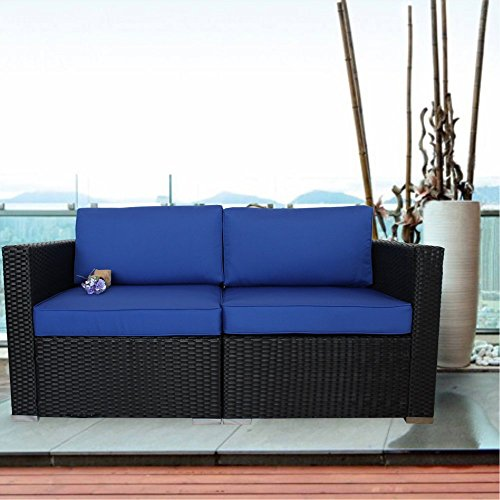 Leaptime Outdoor Love Set Rattan Sofa 2pcs Cover Sofa Garden Wicker Couch Lawn Furniture Set Royal Blue (2pcs-A)