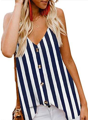 jonivey Women's Summer Floral Print Sleeveless Spaghetti Strap Cami Tank Tops (Striped Blue,XL)