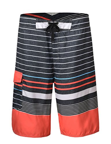 (Unitop Men's Beachwear Summer Holiday Striped Surf Trunks Black Striped 42)