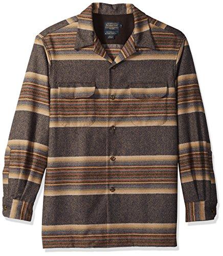 Pendleton Men's Fitted Long Sleeve Board Shirt, Navy/Tan/Blue Stripe-Aa598, XL