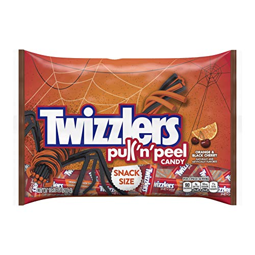 Halloween Twizzlers Orange and Black Cherry Twists Snack Size Packs - 10.12 oz Bag]()