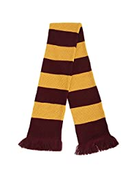 FLOSO Unisex House Style Knitted Winter Scarf With Fringe (One Size) (Red/Gold)