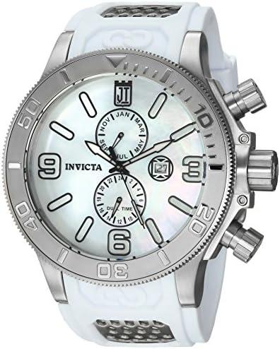 Invicta Men s JT Stainless Steel Quartz Watch with Polyurethane Strap, White, 1.3 Model 24301