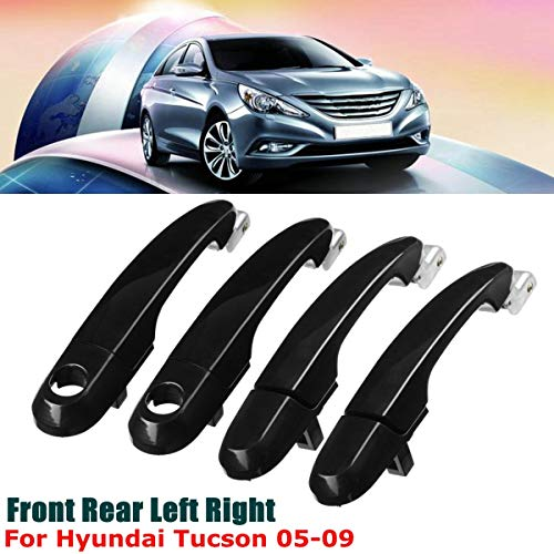 Cacys-Store - Car Stylings Front Rear Right Left Black Exterior Outside Door Handle for Hyundai Tucson 2005 2006 2007 2008 2009
