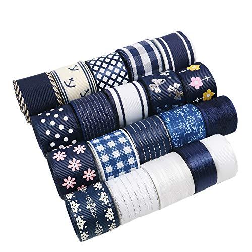 David Angie 20 Yard Grosgrain Satin Organza Fabric Ribbon Set 5/8
