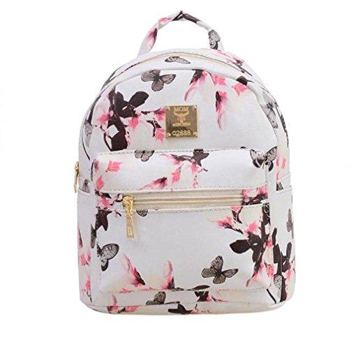 Generic Frauen-Rucksack Mode Beiläufig Blumendrucken PU-Leder Tasche (Weiß)