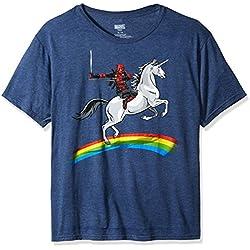 Marvel Men's Deadpool Riding a Unicorn On a Rainbow T-Shirt, Denim Heather, X-Large